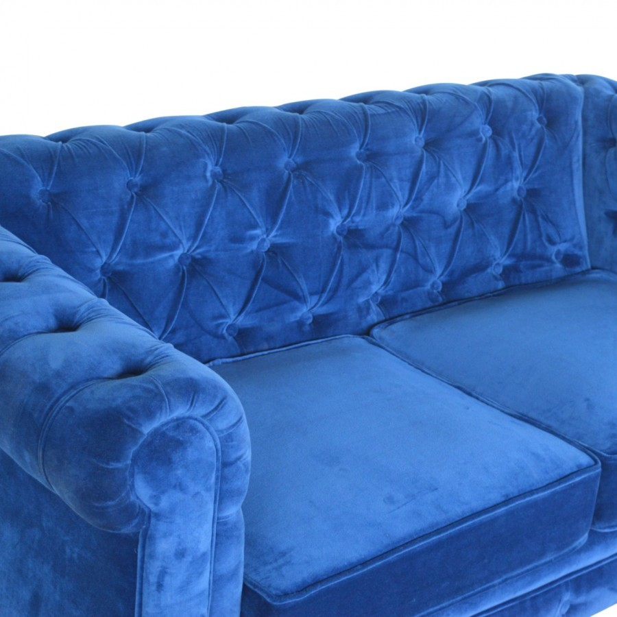 Solid Mango Wood Royal Blue Velvet Chesterfield Sofa Furniture 4 Life