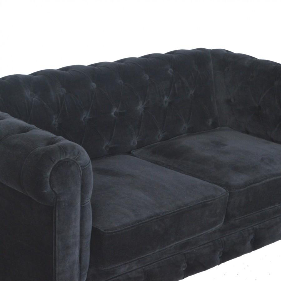 Finished Black Velvet Chesterfield Sofa
