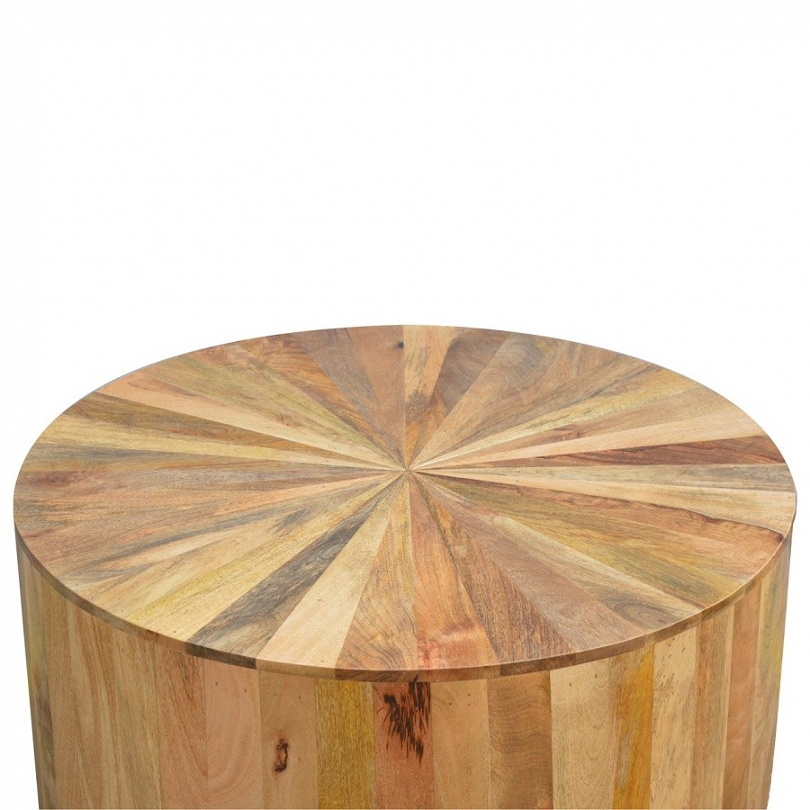 Solid Oak Finished Mango Wood Round Coffee Table On Demand Allow Minimum 8 12 Weeks Delivery Furniture 4 Life