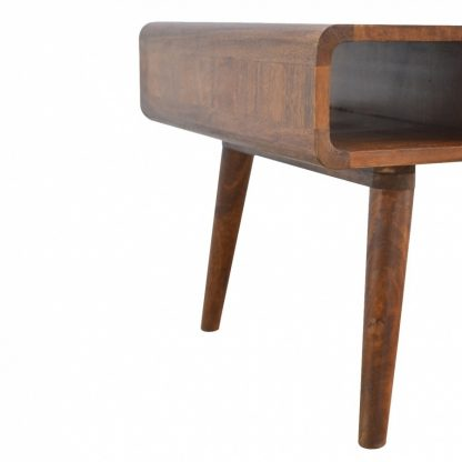 Solid Chestnut Finished Mango Wood One Drawer Curved Coffee Table