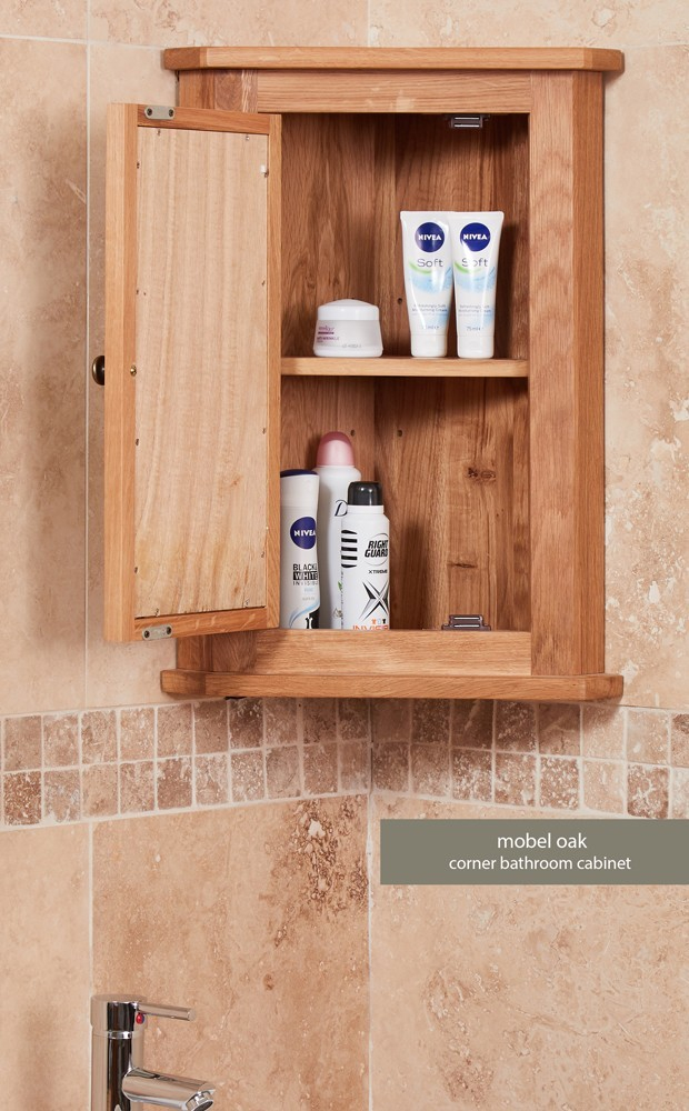 Baumhaus Mobel Bathroom Collection Solid Oak Mirrored Corner Wall Cabinet Furniture 4 Life